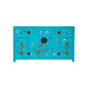 Light Turquoise Blue Vinyl Color Flower Butterflies Cabinet Sideboard cs6096