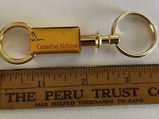 CANADIAN AIRLINES 1990's Detachable Gold Metal Key Ring, Flying Canada Goose