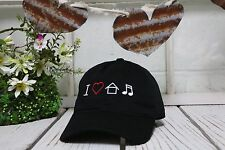 I LOVE HOUSE MUSIC Embroidered Curved Low Profile Baseball Polo Cap Black
