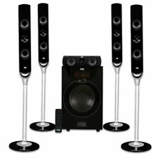 Acoustic Audio Aat2000 Tower 5.1 Home Theater Bluetooth Speaker System With 8""