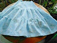 1950'S Blue Swing Skirt, Wonderful Blue&Pink Print Cotton, Handmade, V.G. Cond.