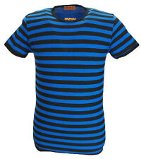 Mens Retro Mod 60s Indie Black & Blue Cotton T Shirt …