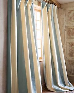 100% Silk taffeta stripe lined drape Hampton (Pair)