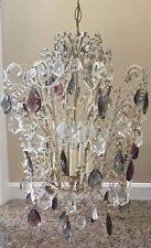 Vintage Italian Amethyst Crystal Macaroni Beaded Pagoda Chandelier Birdcage