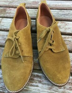 SEASALT YELLOW SUEDE LEATHER LACE UP BROGUES FLAT SHOES  SIZE 6  39
