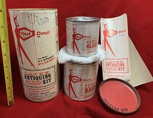 Vintage 1960s Red Devil Paint Antiquing Kit Unused Advertising Cans Canister