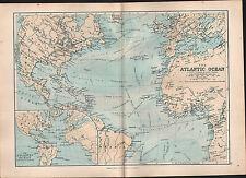 1895 Vittoriano MAP ~ Oceano Atlantico ~ correnti Gulf Stream commercio delle navi