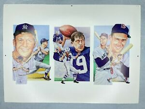 1991 Legends Sports Uncut 3 Card Sheet Mickey Mantle Johny Unitas Ted Williams
