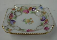 "Schumann Bavaria DRESDENER ART 3-1/8"" Square Ashtray FLORAL, EMPRESS SHAPE"