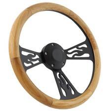 1970 -1977 Ford Ranchero Black Flamed & Real Oak Wood Half Wrap Steering Wheel