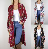 S M L Women's Floral Print Long Cardigan Sweater Loose Boho Open Front Knit