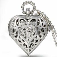 Women Retro Hollow Heart Shape Carved Quartz Pocket Watch Necklace Sweater Chain