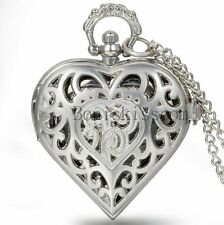 Women Retro Hollow Heart Shape Carved Quartz Pocket Watch Necklace Sweater Chain