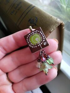 Upcycled SCRABBLE Tile Pendant Abstract Flower Green Glass Beads *make a wish!*