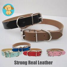 Strong Real Dog Leather Collar Large Small Adjustable Durable Pet Cat Neck Strap
