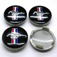 4 x 54mm Ford Mustang Schwarz Black Nabenkappen Felgendeckel Allufelge  2