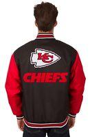 NFL Kansas City Chiefs Poly Twill Jacket Black & Red Patch Logos JH Design