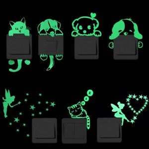 Luminous Switch Wall Sticker Cat Moon Star Glow In The Dark Home Decor Decal