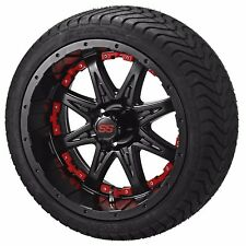 "4 Golf Cart 205/50-10 Tire on 10"" Matte Black Revenge Wheel W/Red Inserts"