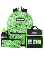 Minecraft Backpack Creeper 4 Piece Kids Green School Rucksack Set