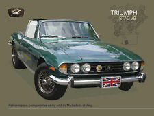 Triumph Stag V8, Classic British Convertible Sports Car, Medium Metal/Tin Sign