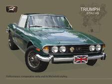 Triumph Stag V8, Classic British Convertible Sports Car, Medium Metal/Tin Sign