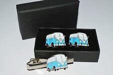 Pale Blue VW Camper Van Cufflinks and Tie Clip Set. Gift Boxed Wedding Enamel