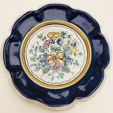 "6"" VIETRI POTTERY WALL PLATE Falcone A Mano Hand Painted Flower Blue Rim"