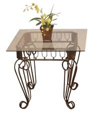 """Beistelltisch """"Antik-Stil"""" Glastisch Tisch Couchtisch Eisen braun/gold"""
