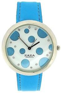 ZAZA London Azul Celeste PU Correa Mujer & Manchado Esfera Reloj de Moda LLB850