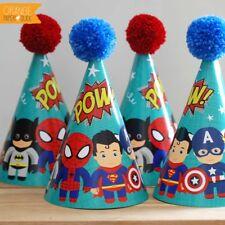 4 X SUPERHERO Children's Birthday Party Wool Pom Pom Hat Batman Spiderman