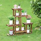 Corner Wood Plant Stand Tier Vertical Carbonized Ladder Stair Shelf Flower Rack