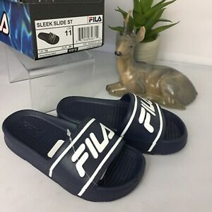 Fila Size 11 Boys Navy Blue Slides Kids Sleek Sandals New