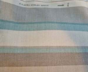 Laura Ashley Eaton Stripe Duck Egg Fabric Footstool Pouffe Footstall Green Grey