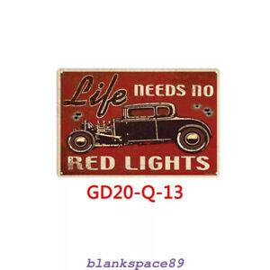 Metal Tin Sign life needs no red lights Bar Pub Home Vintage Retro Poster Cafe