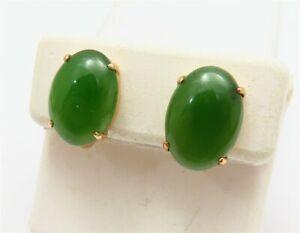 Vintage 10K Yellow Gold Oval Jade 4 Prong Screw-Back Earrings