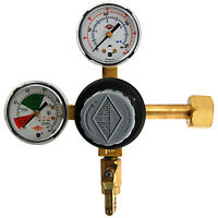 Premium Double Gauge CO2 Pressure Regulator- Polycarbonate- Kegerator Draft Beer
