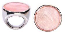 ANELLO DI CONCHIGLIA CAPIZ colore ROSA resina metallo argento bigiotteria