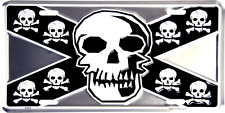 "Skull and Bones Pirate 6""x12"" Aluminum License Plate Tag"