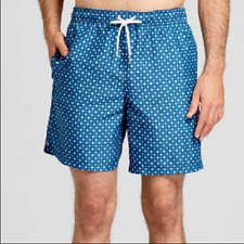 "Men's 7"" Geometric Diamond Print Swim Trunks - Goodfellow & Co Navy Large"