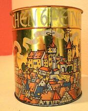 VTG German Tin canister Treat Tin Gingerbread? Medieval Scenes with Castles