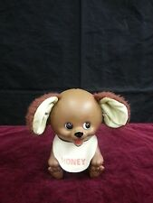 VTG Baby Brown Bear Piggy Bank Thick Plastic Fuzzy Ears Honey Bid w Stopper