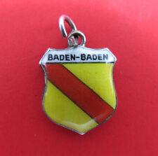 Vintage 800 Silver Bracelet Charm Enamel Shield Baden-Baden Germany Travel 648g