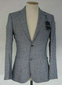 Men's T.M.LEWIN Farnham Jacket in Blue and Grey Cotton Linen Ref: 61594/7520