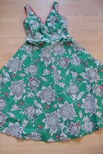 BODEN green rose summer   cotton  sleeveless  dress size 8  NEW