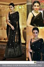 Black Georgette Desinger Bollywood Saree Sari Elegant Indian Designer Saree Wear