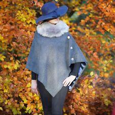 Handmade Blue 100% wool tweed Cape Poncho