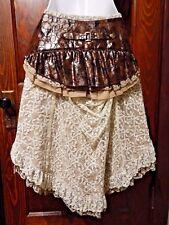 RQ-BL STEAMPUNK SKIRT cream lace brown detachable belt garters bustle S M 2E