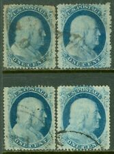 EDW1949SELL : USA 1857 Scott #24 VF-XF, Used. Minor faults. 4 stamps. Cat $150.