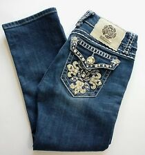 LA Idol USA Stretch Capris Jeans Embellished Flap Pockets Women Size 0